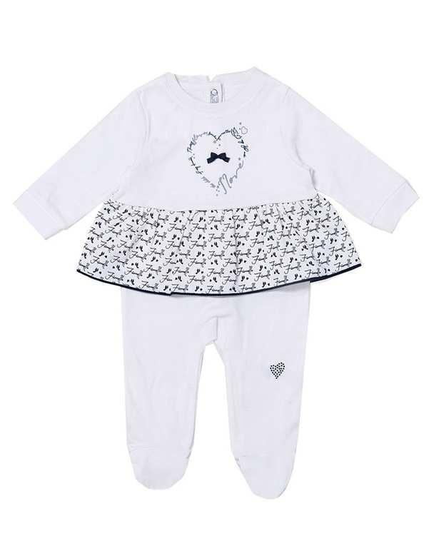 ست سرهمی جوراب دار و کلاه دخترانه نوزادی نخی مدل 50017 سفید فیورلا