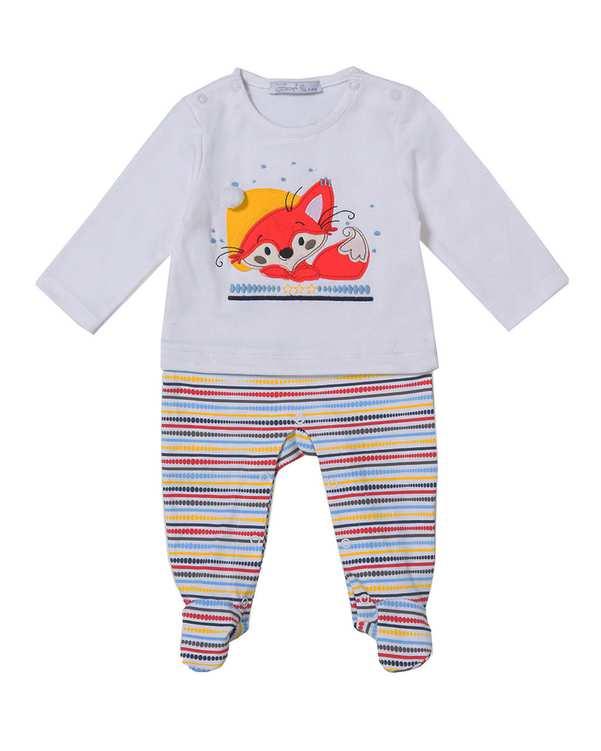 ست سرهمی جوراب دار و کلاه پسرانه نوزادی مدل 50005 نخی سفید فیورلا