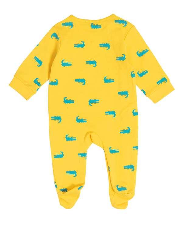 ست سرهمی جوراب دار و کلاه پسرانه نوزادی مدل 50007 نخی زرد فیورلا