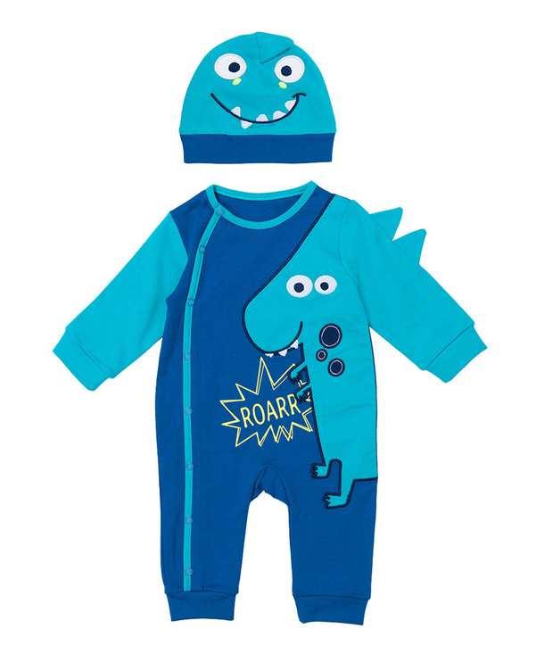 ست سرهمی و کلاه پسرانه نوزادی مدل 50001 نخی آبی فیورلا
