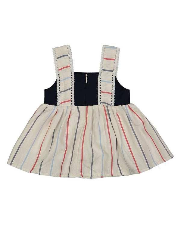 پیراهن دخترانه نوزادی مدل 2064 کرم مشکی راه راه فیورلا