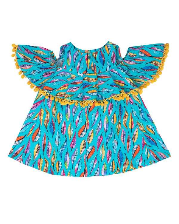 پیراهن دخترانه مدل 31007 نخی آبی فیورلا