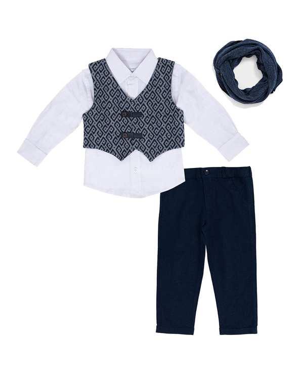 ست 4 تکه لباس پسرانه نوزادی مدل 21201 سفید سرمهای فیورلا