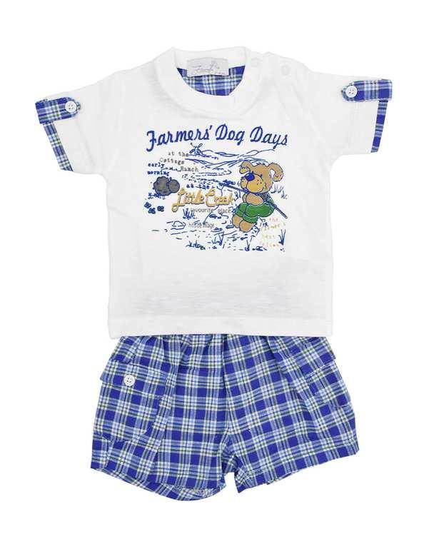 ست تی شرت و شلوارک پسرانه نوزادی مدل 2001 آبی سفید فیورلا