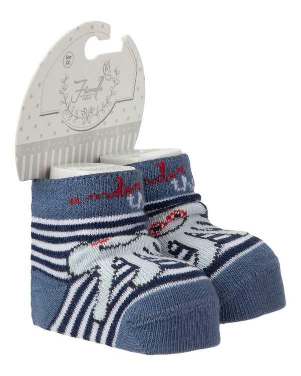 جوراب پسرانه نوزادی نیم ساق مدل 3507 نخی سرمه ای راه راه فیورلا