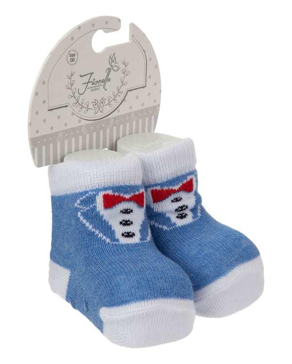 جوراب پسرانه نوزادی ساق کوتاه مدل 3834 نخی آبی سفید فیورلا