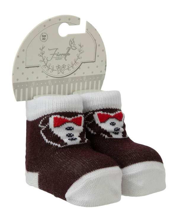 جوراب پسرانه نوزادی ساق کوتاه مدل 3834_99 نخی قهوه ای سفید فیورلا