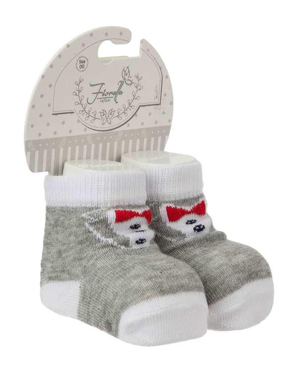 جوراب پسرانه نوزادی ساق کوتاه مدل 3834 نخی طوسی سفید فیورلا