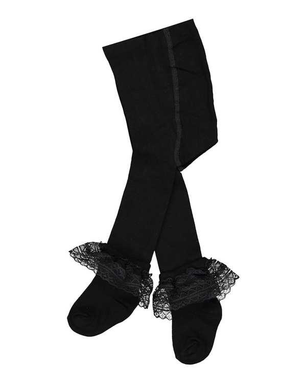 جوراب شلواری دخترانه نوزادی مدل 6_2014 نخی مشکی فیورلا