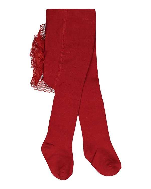جوراب شلواری دخترانه نوزادی مدل 6_2012 نخی زرشکی فیورلا