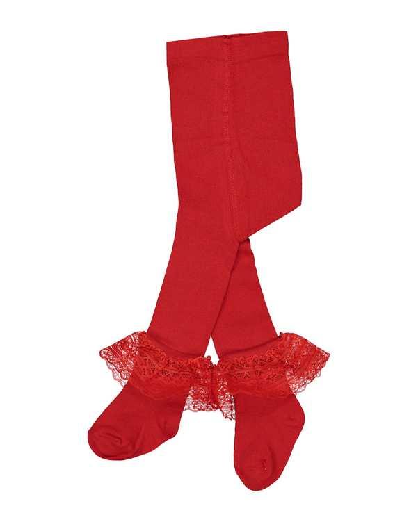 جوراب شلواری دخترانه نوزادی مدل 6_2014 نخی قرمز فیورلا