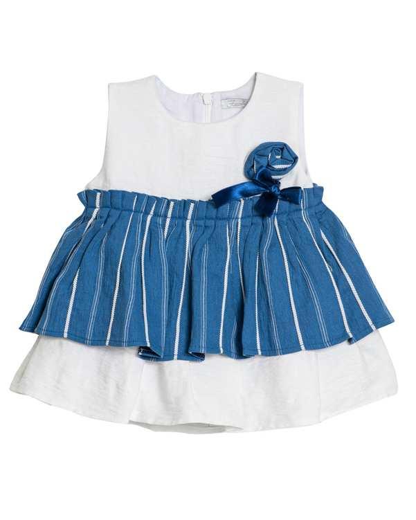 پیراهن دخترانه نوزادی مدل 2067 نخی سفید آبی فیورلا