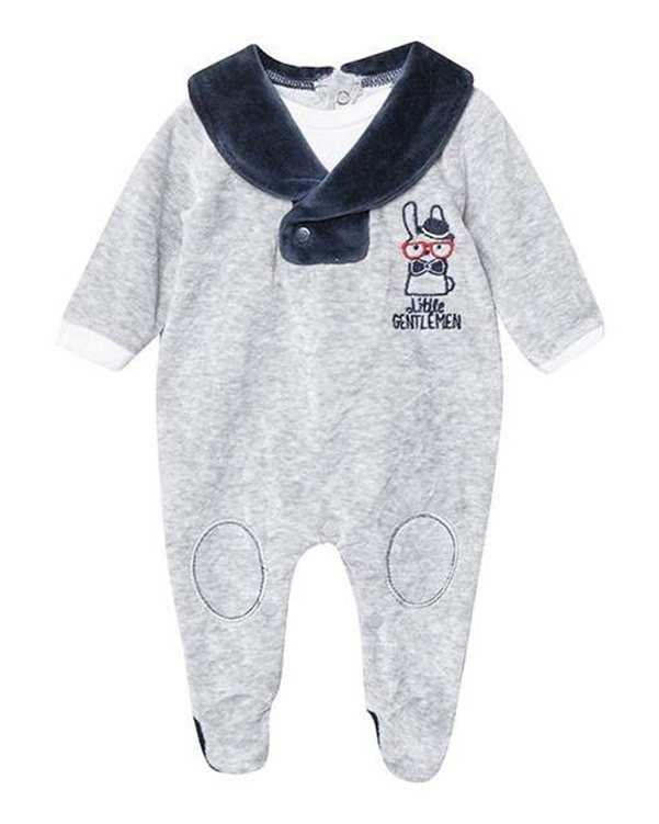 سرهمی پسرانه نوزادی جوراب دار مدل زانیار 2925 مخمل طوسی سرمه ای فیورلا