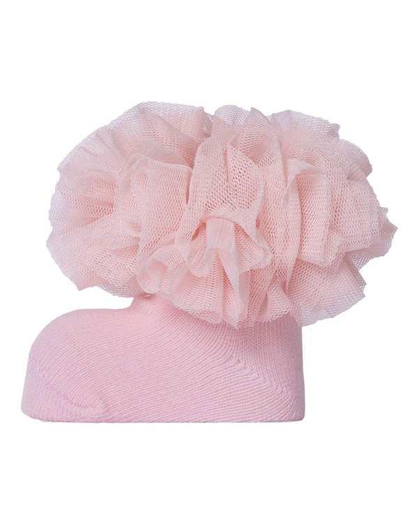 جوراب دخترانه نوزادی نیم ساق مدل 2001_3 نخی صورتی فیورلا
