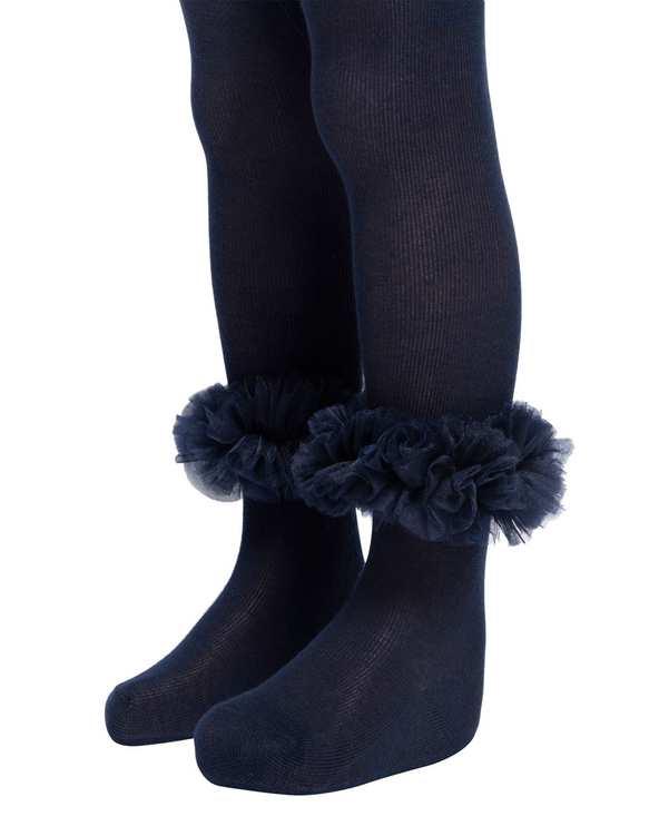 جوراب شلواری دخترانه نوزادی مدل 2005_5 نخی سرمه ای فیورلا