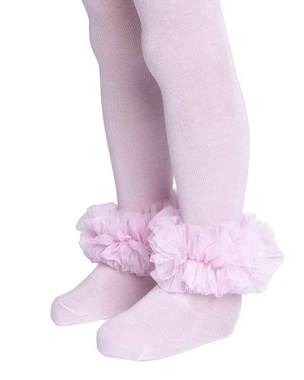 جوراب شلواری دخترانه نوزادی مدل 2005_1 نخی صورتی روشن فیورلا