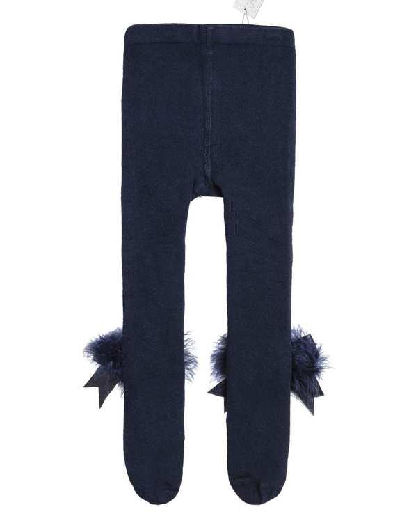 جوراب شلواری دخترانه نوزادی مدل 2002_7 نخی سرمه ای فیورلا