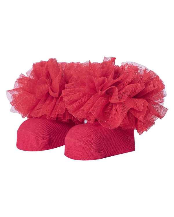 جوراب دخترانه نوزادی نیم ساق مدل 2001_4 نخی قرمز فیورلا