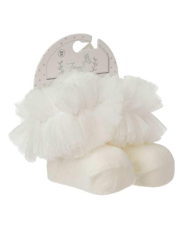 جوراب دخترانه نوزادی نیم ساق مدل 2_2001 نخی سفید فیورلا