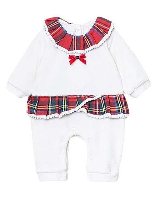 سرهمی دخترانه نوزادی مدل لاچین 2981 مخمل سفید فیورلا