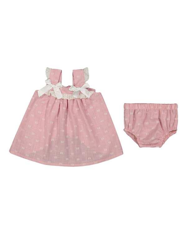 ست پیراهن و شورت دخترانه نوزادی مدل 2077 صورتی فیورلا