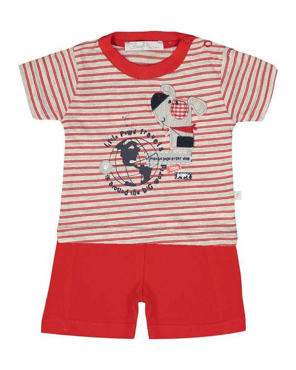 ست تی شرت و شلوارک پسرانه نوزادی مدل 2091127_72 طوسی قرمز راه راه فیورلا