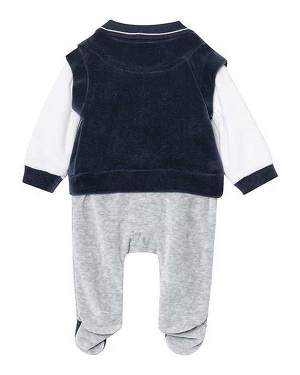 سرهمی پسرانه نوزادی جوراب دار مدل مانا 2989 مخمل سرمه ای طوسی فیورلا