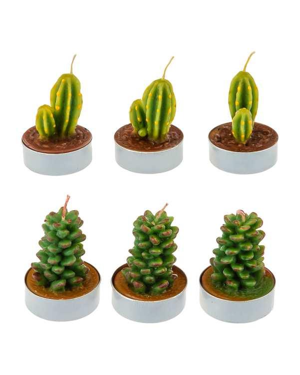 بسته 6 عددی شمع مدل کاکتوس سبز تاتی هوم