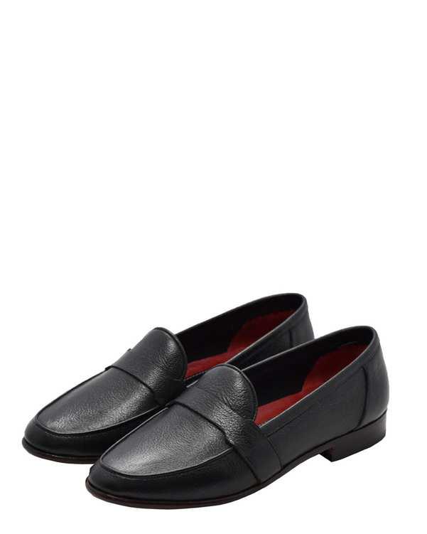 کفش چرم طبیعی گاوی زنانه مدل فرین مشکیدگرمان