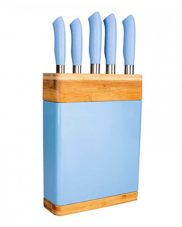 سرویس چاقو آشپزخانه و تخته گوشت 6 پارچه مدل Nordic آبی کاراجا