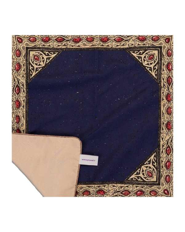 رومیزی مخمل مربع مدل TF6-02 سرمه ای 50×50 پرووال