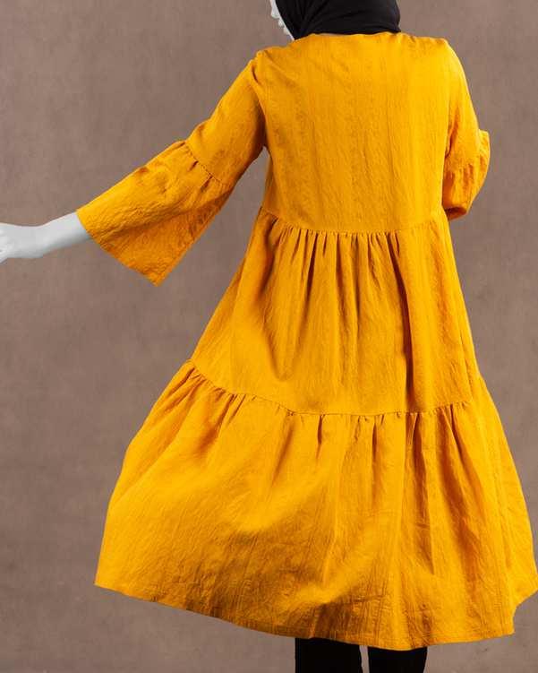 مانتو زنانه ژاکارد مدل شیلی خردلی مانگ