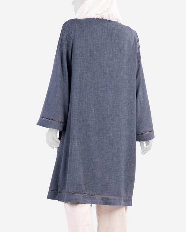 مانتو زنانه شانتون مدل سویل آبی طوسی مانگ