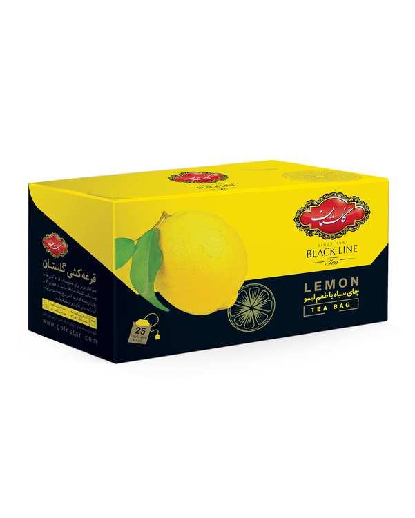 چای سیاه کیسه ای بلک لاین با طعم لیمو گلستان بسته 25 عددی
