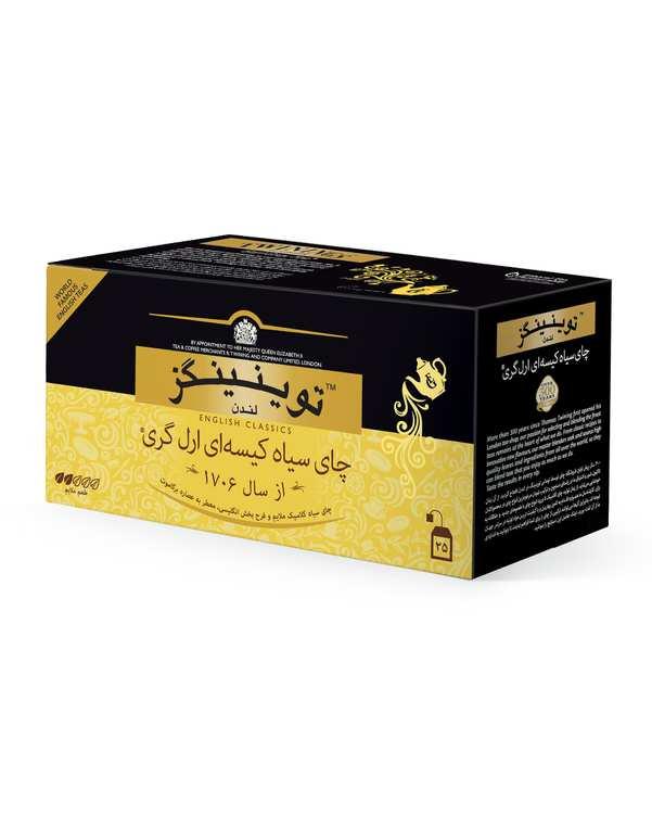 چای سیاه کیسه ای ارل گری توینینگزبسته 25 عددی