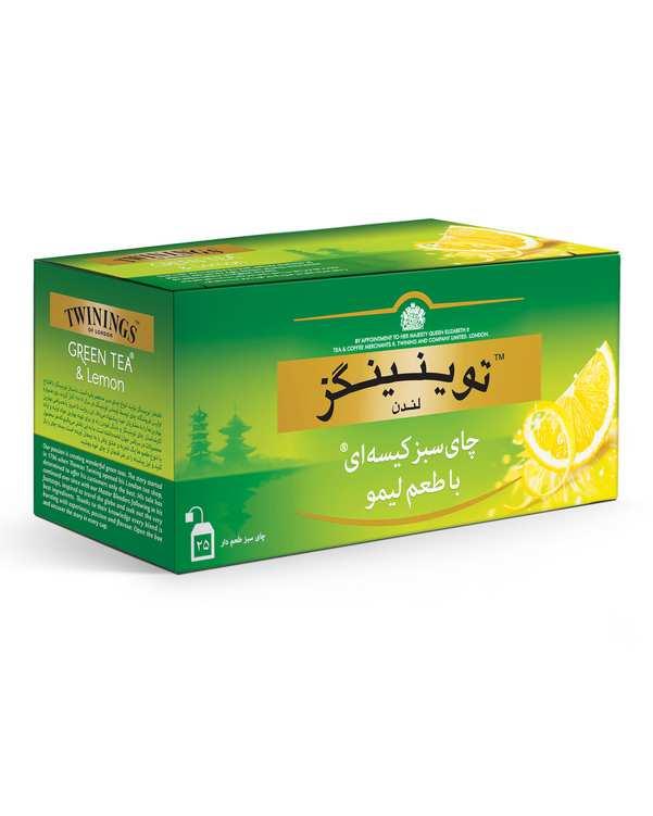 بسته 25 عددی چای سبز کیسه ای با طعم لیمو توینینگز