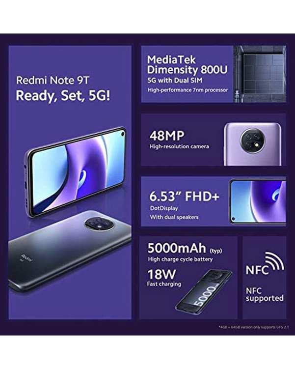 گوشی موبایل شیائومی مدل Redmi Note 9T 5G دو سیم کارت ظرفیت 128 گیگابایت