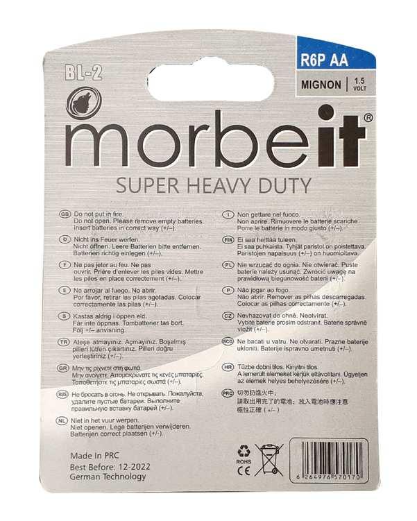 بسته دو عددی باتری قلمی Super Heavy Duty R6P موربیت