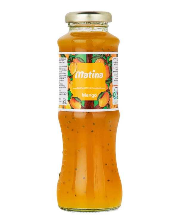 نوشیدنی دانه ریحان با طعم انبه 280 گرمی ماتینا