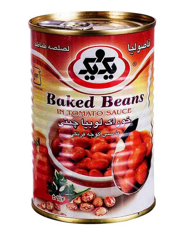 کنسرو خوراک لوبیا چیتی با سس گوجه فرنگی 430 گرمی یک و یک