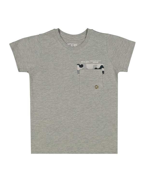 تی شرت پسرانه نخی یقه گرد طوسی سون پون