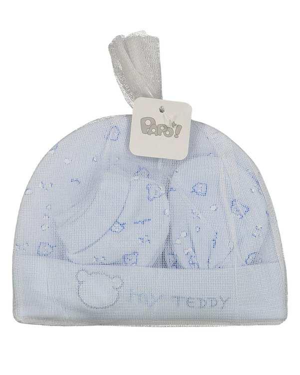 ست 3 تکه پسرانه نوزادی مدل Teddy05 آبی پاپو