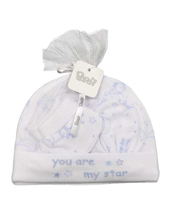 ست 3 تکه پسرانه نوزادی سفید آبی پاپو