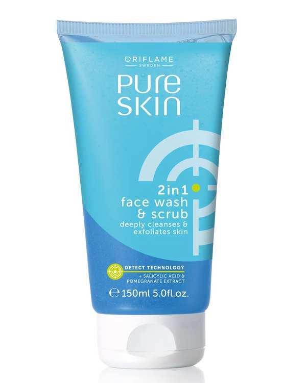 ژل شست و شو و اسکراب1*2 Pure Skin اوریفلیم